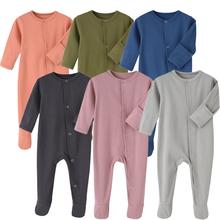 Śpioszki dla niemowląt z organicznej bawełny śpiące i bawiące się jesienno-zimowe kombinezony z pełnym rękawem dla niemowląt tanie tanio HIBISCUSARA COTTON spandex Stałe Dla dzieci O-neck Swetry Pajacyki Unisex Pełna HY00835 Pasuje prawda na wymiar weź swój normalny rozmiar