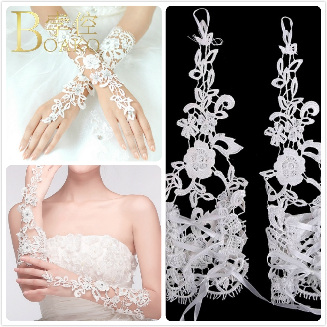 Long Wedding Gloves Ivory White Bridal Gloves Girl Party Fingerless Lace Glove Ladies Flower Guantes Wedding Accessories K5