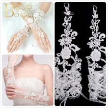 Long Wedding Gloves Ivory White Bridal Girl Party Fingerless Lace Glove Ladies Flower guantes Accessories K5
