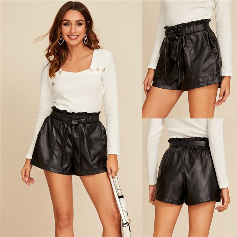 Sexy Women Ladies PU Leather PVC Wet Look Shorts Bottoms Trousers High Waist Paper Bag Pants Shorts Clubwear With Blet 2020 New
