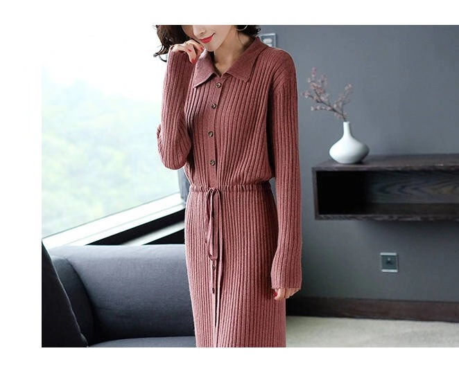 Vangull Women Knitted Dresses Solid Female Long Sleeve Dress 2019 New Autumn Winter Turn-down Collar Button Solid Slim Dresses 69