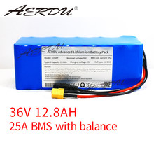 AERDU 36V 12.8Ah 10S4P 13Ah 12Ah 18650 Li-ion Battery Pack 750Watt 500W Motor Ebike Scooter Extended Range 37v Lithium Batteries