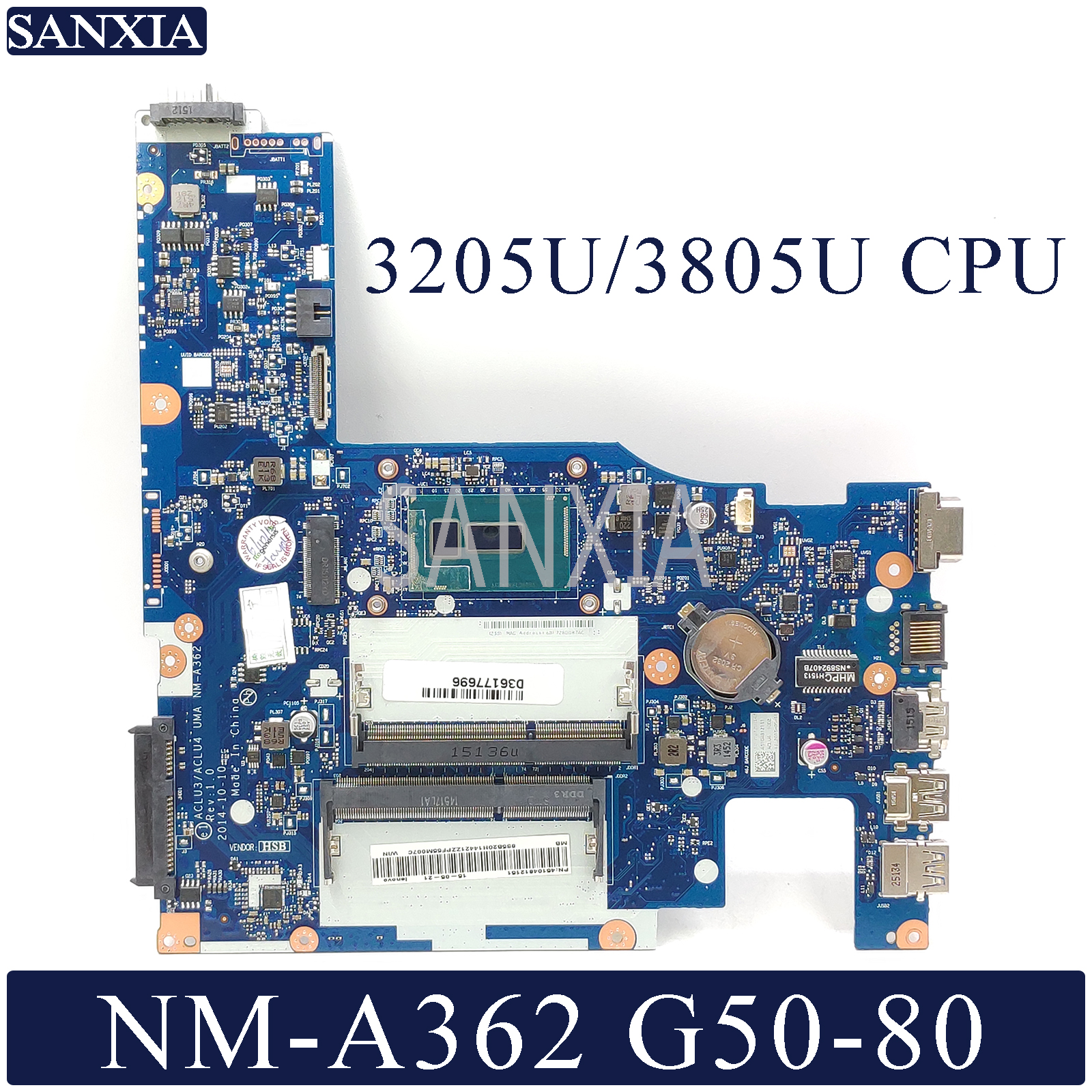 KEFU NM-A362 Laptop Motherboard For Lenovo G50-80 Original Mainboard 3205U/3805U