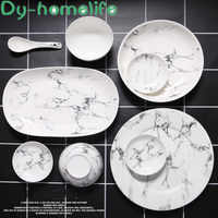 Multi-size Marble Pattern Ceramic Tableware Set Home Kitchen Supplies Plate Bowl Soup Pot Size Spoon Spoon Dish Hotel Supplies