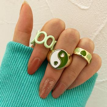 17KM czeski łańcuszek z sercem zestaw pierścieni dla kobiet moda różowy zielony miłość pierścień z sercem hurtownia biżuterii Party tanie i dobre opinie CN (pochodzenie) Ze stopu cynku Kobiety Metal BOHEMIA Obrączki ślubne GEOMETRIC 6 5mm Zgodna ze wszystkimi Nawiązujące do okresu