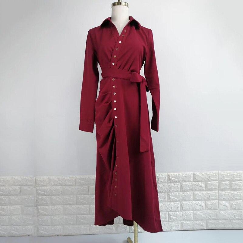 TWOTWINSTYLE Vestiti delle Donne Di Grandi Dimensioni Con Scollo A V A Vita Alta In Pizzo Up Asimmetrico Del Vestito Femminile delle Donne di Modo vestiti di Autunno-in Abiti da Abbigliamento da donna su  Gruppo 3