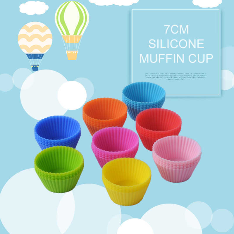 Warna-warni Bulat Berbentuk Silikon Kue Kue Cetakan Cupcake Cetakan Alat Pembuat Roti Pembuat Liner Tray Alat Kue Kering 2020 Jual Panas