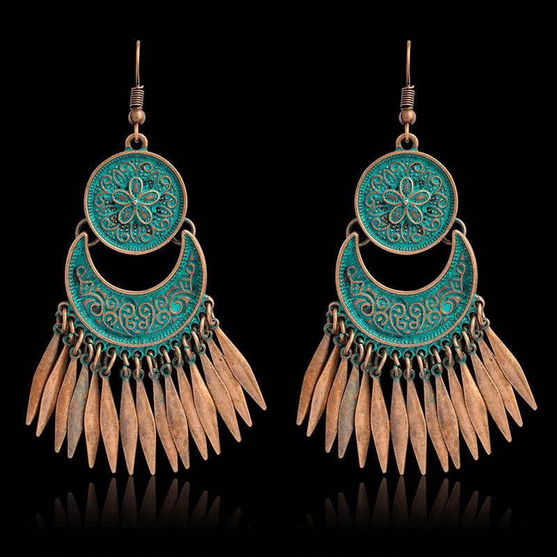 Vintage ethnique gitane indien boucles d'oreilles pour les femmes 2019 Boho bijoux dames rétro longue cloche gland creux gland Jhumka boucles d'oreilles