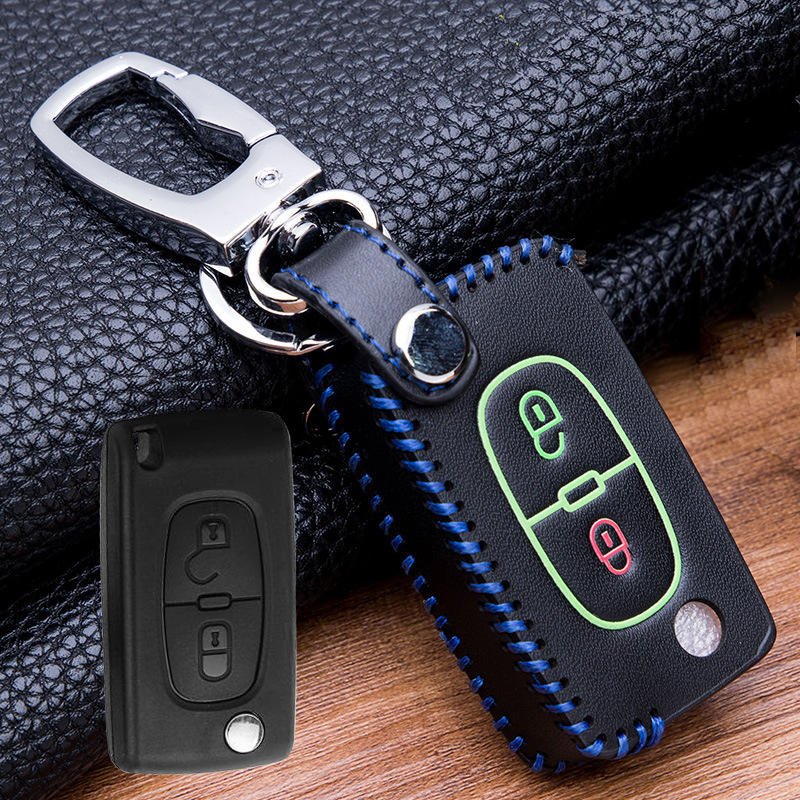 Leather Car <font><b>Key</b></font> Cover Case For <font><b>Peugeot</b></font> 107 206 207 <font><b>208</b></font> 306 307 301 308S 407 2008 3008 4008 5008 RCZ For Citroen C2 C3 C4 C5 image