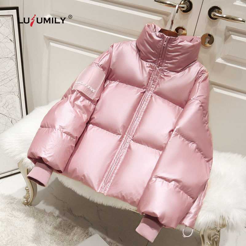 Lusumily New Arrivals Glossy Waterproof Female Down Jacket Parka Winter 2020 Fashion Warm Padded Down Parkas Women Coat Girls