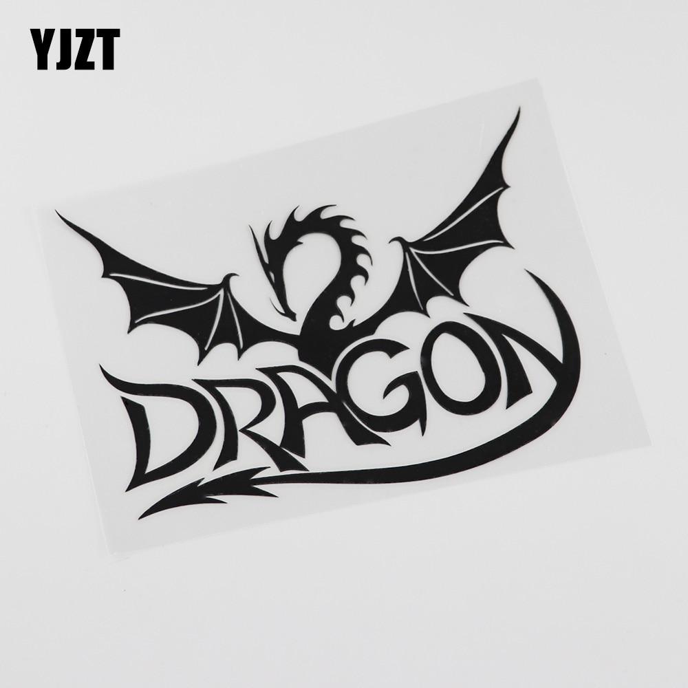 YJZT 11.7CMX15.6CM  High Quality Dragon Myth Fantasy Vinyl Black/Silver Car Sticker 13C-0107