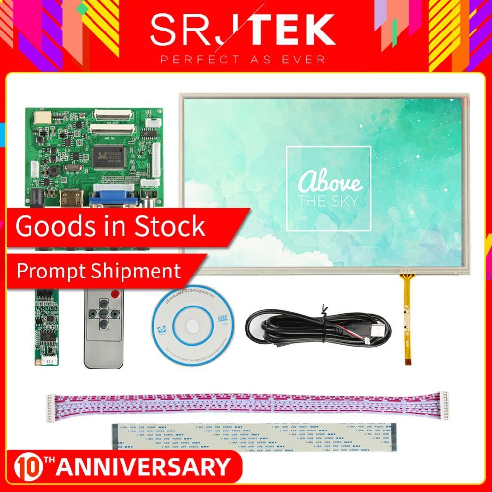 Srjtek 10.1 IPS For Raspberry Pi Monitor 1280*800 TFT EJ101IA-01G HD LCD Display Touch Screen Remote Driver Board HDMI 2AV VGA