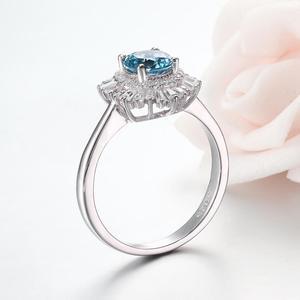 Image 3 - Kuololit londyński niebieski topaz szmaragd kamień pierścionki dla kobiet solidna biżuteria ze srebra próby 925 śnieg zaręczyny Ins stylowy prezent bożonarodzeniowy