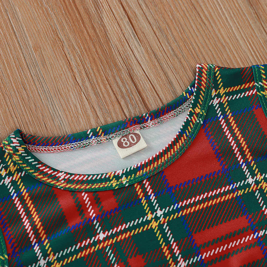 Для новорожденных; сезон лето детская одежда для девочки на Рождество, с кисточками в шотландскую клетку для маленьких девочек детская одежда комбинезоны для малышей для мальчиков и девочек комбинезоны для новорожденных 2019