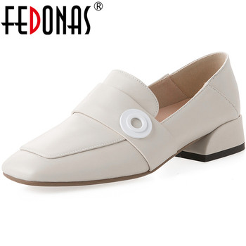 FEDONAS New Arrival Women High Heeled Round Toe  Shoes Spring Summer Genuine Leather Metal Decoration Shoes Woman