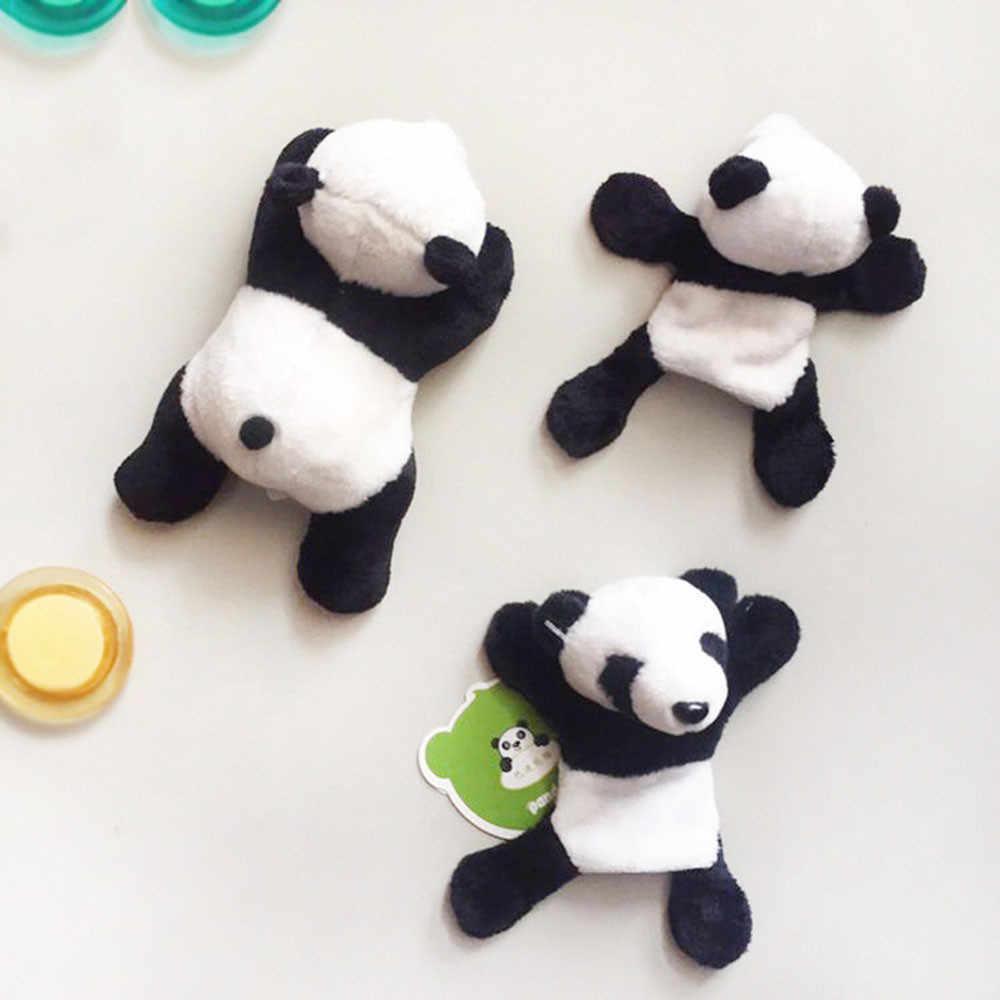 1Pc Cute Suave Panda Plush Imã de geladeira Adesivo Geladeira Desenhos Animados Decalque Lembrança Presente Decoração de Casa Acessórios de Cozinha Novo d3