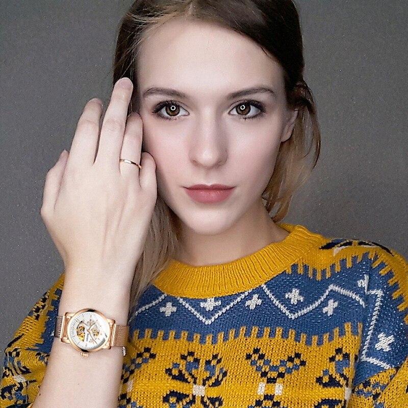 HAIQIN 2019 Fashion Gold Lady Mechanical WoMens Watches Top Brand Luxury Clock Ladies WristWatch Lover Gift Relogio Feminino New
