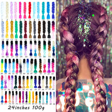 Jumbo Braids Long Ombre Synthetic Braiding Hair Yellow Pink Purple Gray Extension Oversized Tweezers Accessories