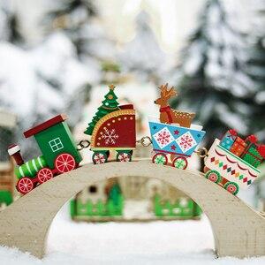 Image 3 - Mini ensemble de trains de noël en bois, jeux de décoration de noël, jeux de trains en bois, modèle de véhicule, jouets de noël, nouvel an, 2020