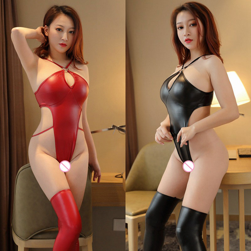 Sexy Hollow Out HIgh Cut Bodysuit Bandage PU Shiny Faux Leather Bodysuit Stripe Backless Gothic Bodysuit Erotic Sexy Wear