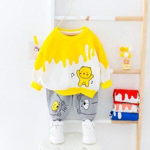 Image 2 - Bebê da criança roupas da menina do menino dos desenhos animados urso camiseta + calça 2 pçs define meninos primavera outono outwear roupas de moda 1 2 3 4 ano