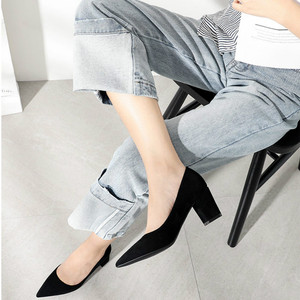 Image 3 - 2020 Shoes for Women Slip Ons Square High Heels Office Lady Flock Pointed Toe Sexy Wedding Heeled Solid Black Heels Woman Pumps