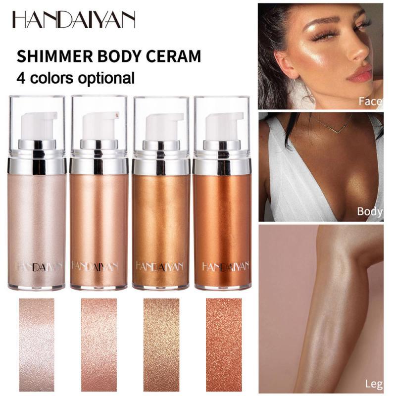 Жидкий хайлайтер HANDAIYAN, тональный крем для лица и тела, блестящий сияющий лосьон для макияжа, Жидкий Макияж TSLM1