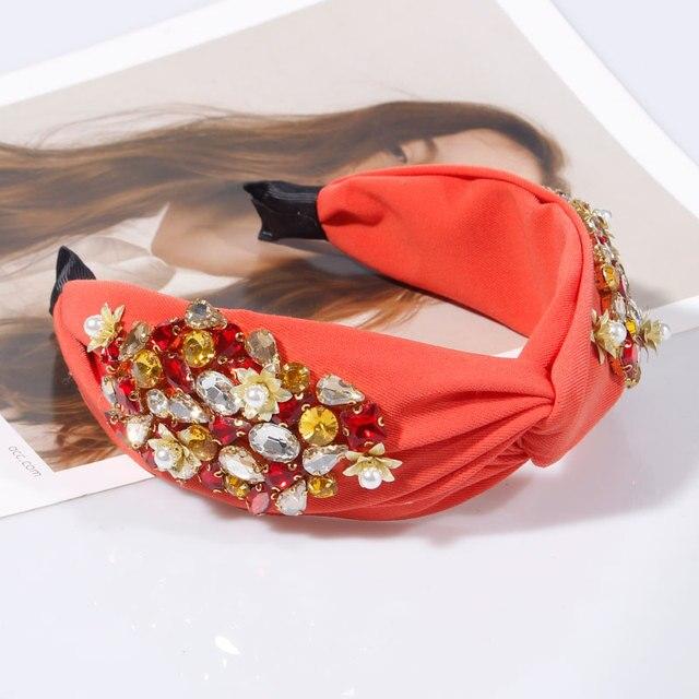 Pearl Flower Crystal Rhinestone Top Knotted  Headbands 2