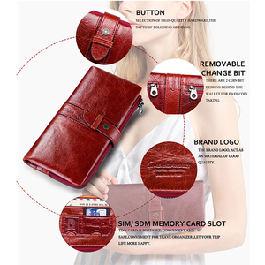 Image 4 - Contacts Red Fashion Wallet Clutch Women 100% Genuine Leather Purse Ladies Wallets HasP Card Hold Cartera Mujer Portfel Damski