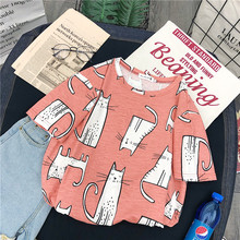 Kawaii Cat Cartoon Print Women Summer T Shirt 2019 Funny Striped Korean Style harajuku Vogue Short sleeve funny basic Clothes