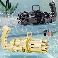 Pistola de burbujas automática Gatling para niños, juguete de agua y jabón de verano, máquina eléctrica de burbujas de plástico, juguetes de baño para niños