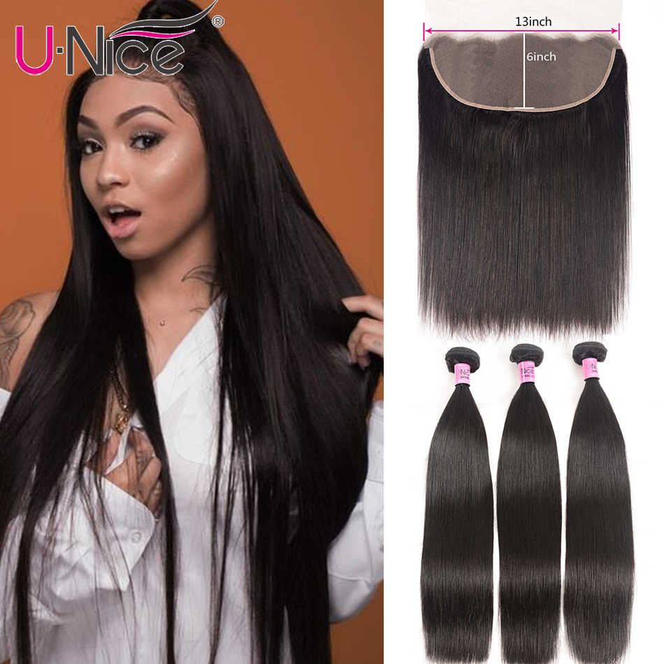 Unice Hair Brazilian Straight Hair Bundles With Frontal Remy Human Hair Bundles With Closure 13X6 Lace Frontal With Hair Bundles