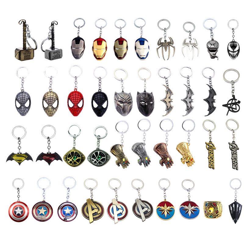 The Avengers 4 Thor Hammer Thanos Axe Keychain Captain America Marvel Iron Spider Man Batman Venom Superhero Keyring Key Chains