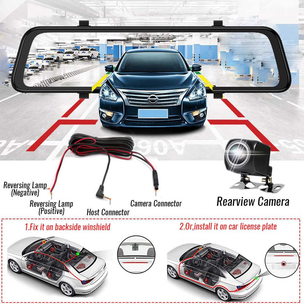 4 جرام 10 بوصة سيارة مرآة الرؤية الخلفية جهاز تسجيل فيديو رقمي للسيارات ADAS أندرويد FHD ل السيارات مسجل لتحديد المواقع الملاحة تسجيل داش كاميرا كاميرا الرؤية الخلفية