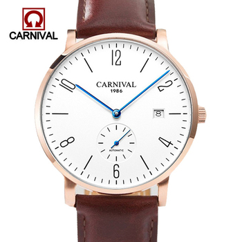 цена на Relogio Masculino Carnival Brand Luxury Mechanical Watch Men Ultra Thin Business Calendar Automatic Wrist Watches Clock Man Saat