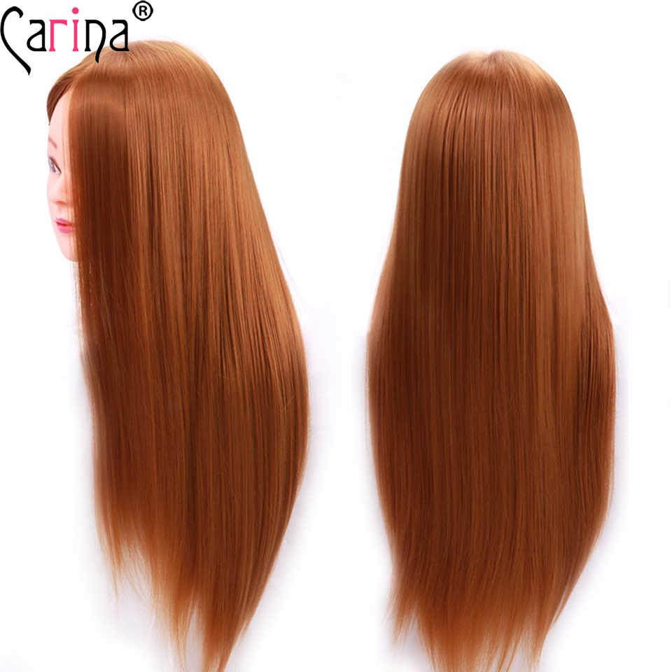 Cabeza de Maniquí de pelo sintético de 55cm con cabeza de entrenamiento de pelo para peluquería, muñecas de cosmetología, maniquí de peluquería