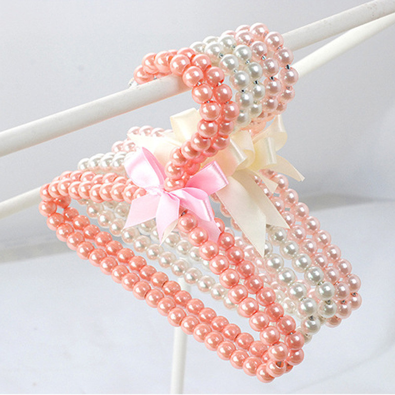 300pcs/lot Plastic Pearl Beaded Bow Clothes Dress Coat Hangers Wedding For Kid Children Save-Space Storage Organizer Dry Rack