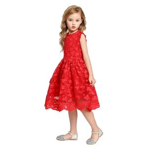MUABABY Girls Summer Dress Sleeveless Lace Children Elegant Clothes Flower Embroidery Red White Color Kids Casual Dress for 2-8T