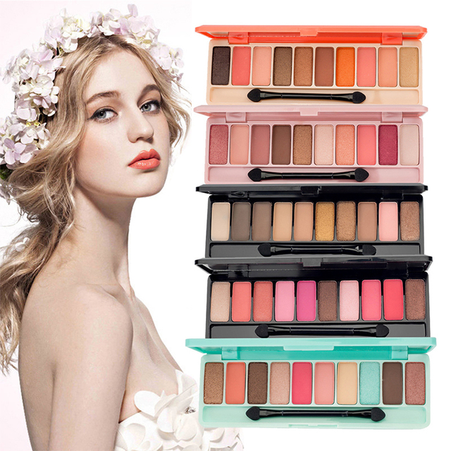 10 Color Nude Shining Eyeshadow Palette Glamorous Waterproof Not Blooming Cherry Eye Shadow Shimmer Glitter Makeup TSLM1 2