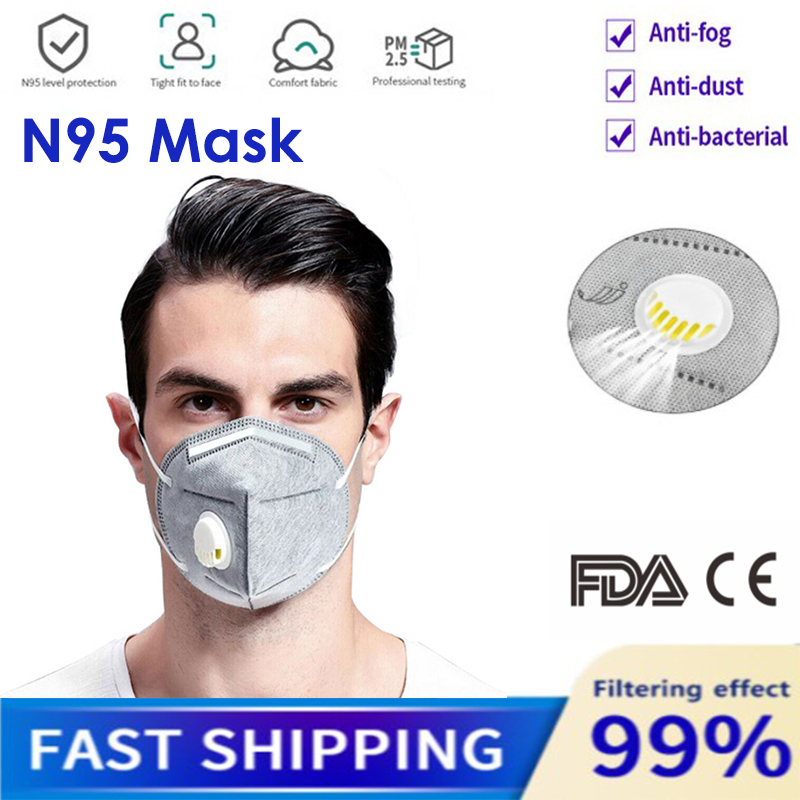 N95 Mask KN95 Face Mask Valved Dust Mask Respirator 6-Layer PM2.5 Dustproof Protective 95% Filtration Mouth Muffle Cover PK Ffp3