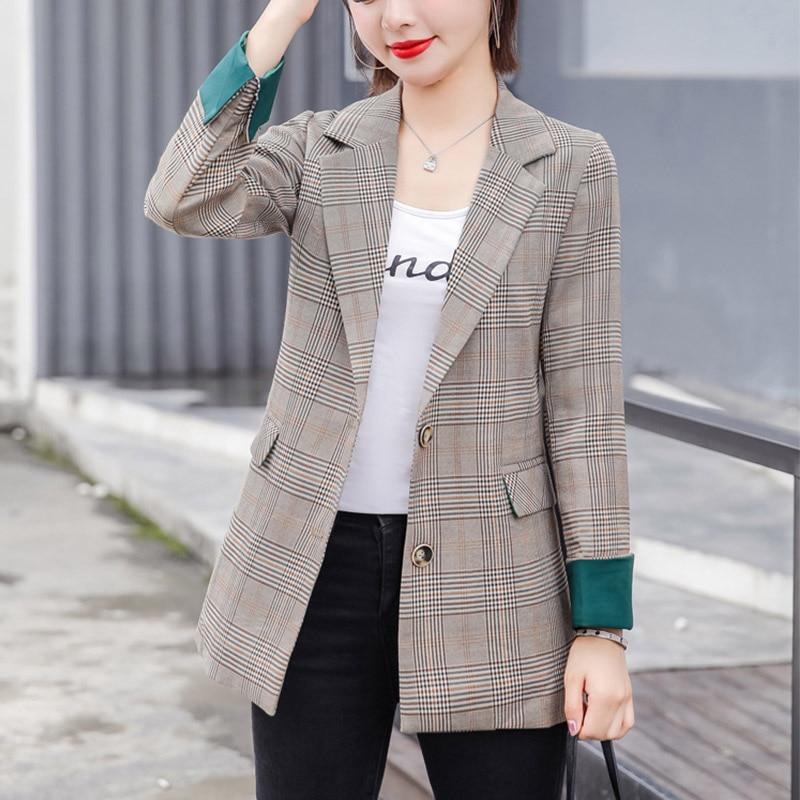 Fashion Plaid Small Suit Jacket Female Korean Version Loose 2019 Spring Autumn New Casual Suit Women shirt