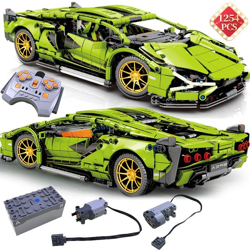 Технические гоночные строительные блоки MOC, имитация зеленых супер спортивных радиоуправляемых моделей автомобилей, детские игрушки, пода...