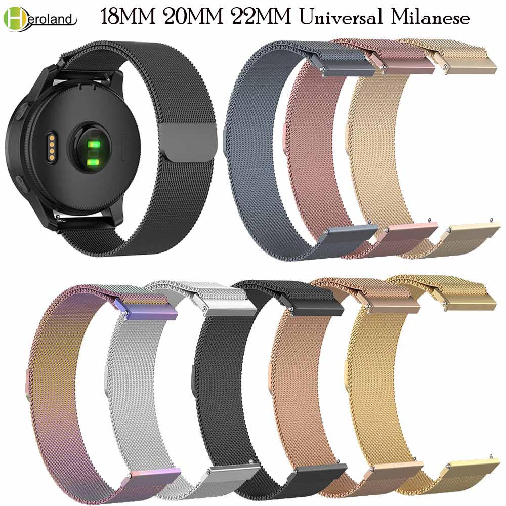 18MM 20MM 22MM Watch Strap Band For HUAWEI WATCH GT 2 Sport Magnetic Milanese Steel Wristband For Samsung Galaxy Watch Active 2
