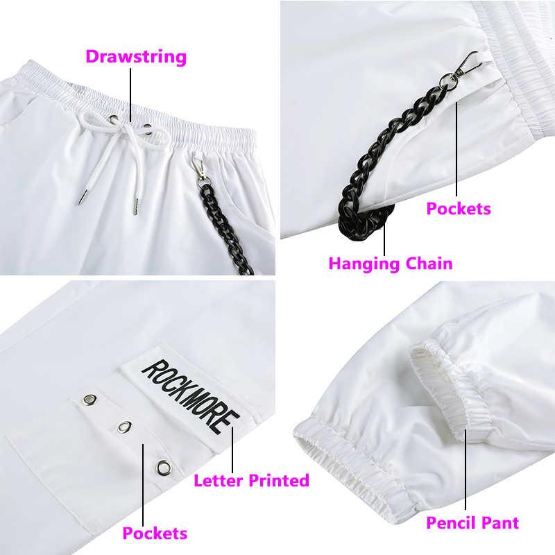 Pantalones de carga negros Rockmore con bolsillos de cadena pantalones de cintura alta blanco pantalones de pierna ancha Pantalones de mujer invierno ropa de calle otoño
