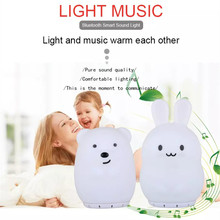 Bear Rabbit Music Lamp Wireless Bluetooth Speaker 9 Colors LED Night Light USB Rechargeable Silicone Bunny Lamp for Children