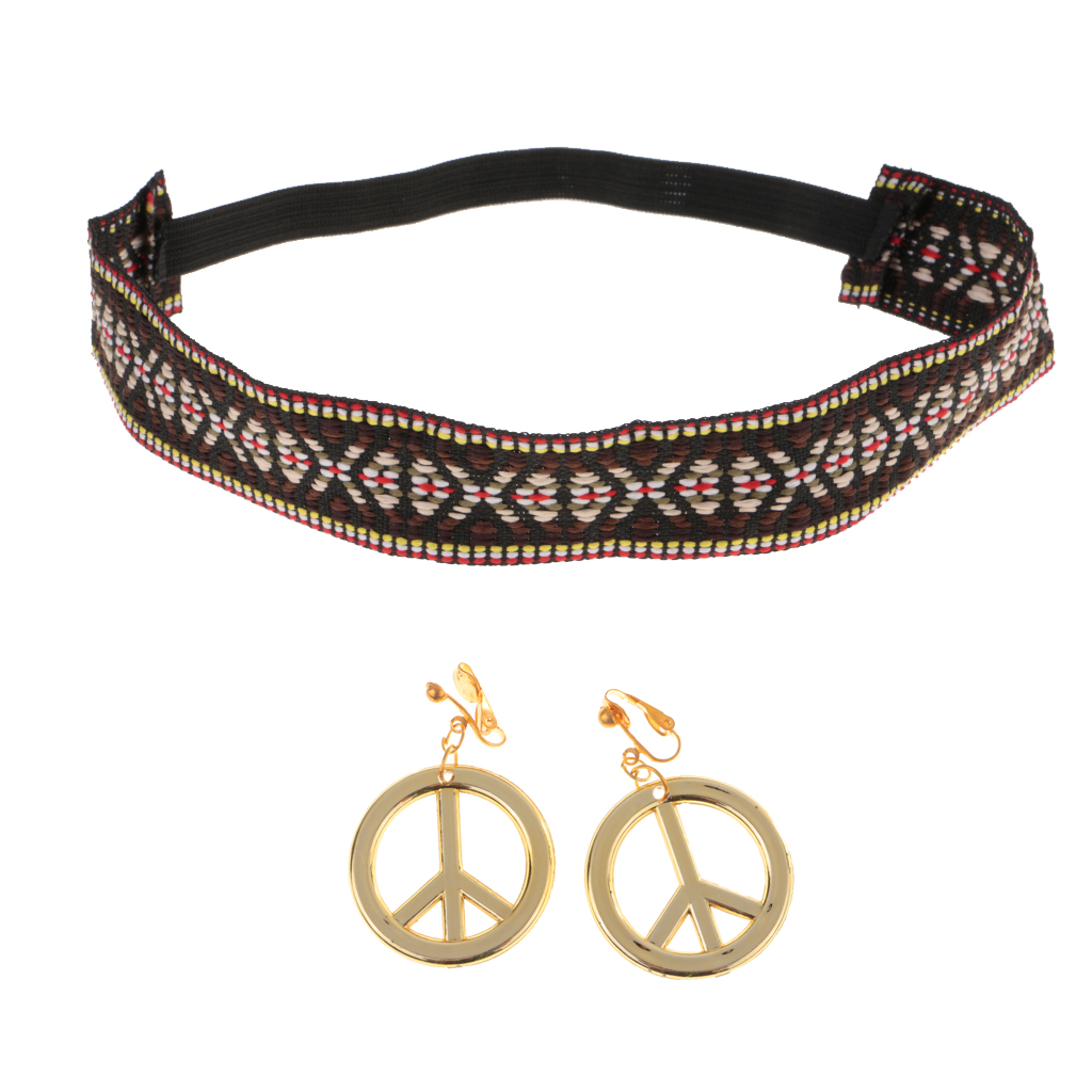 2 Pieces Hippie Costume Accessories Set  Including Peace Sign Earrings & Boho Headband For Women & Girls Party Canival Props