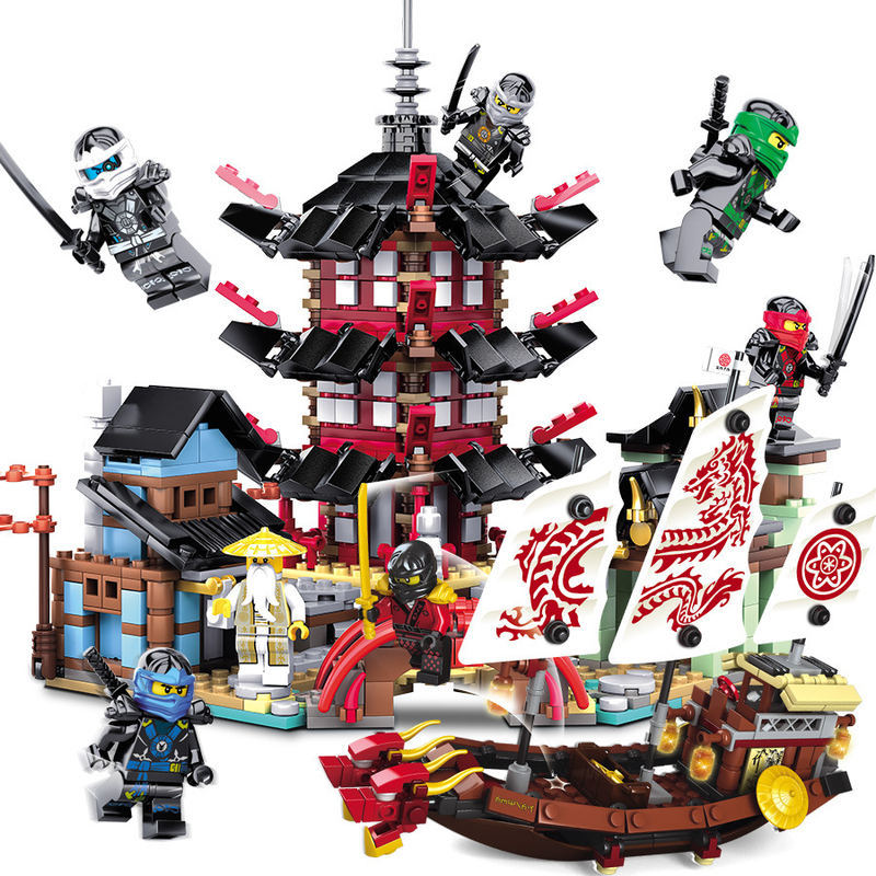 Ninja Temple Boat Dragon 737+pcs DIY Building Block Sets Educational Toys For Children Compatible Legoinglys Ninjagoes Movie