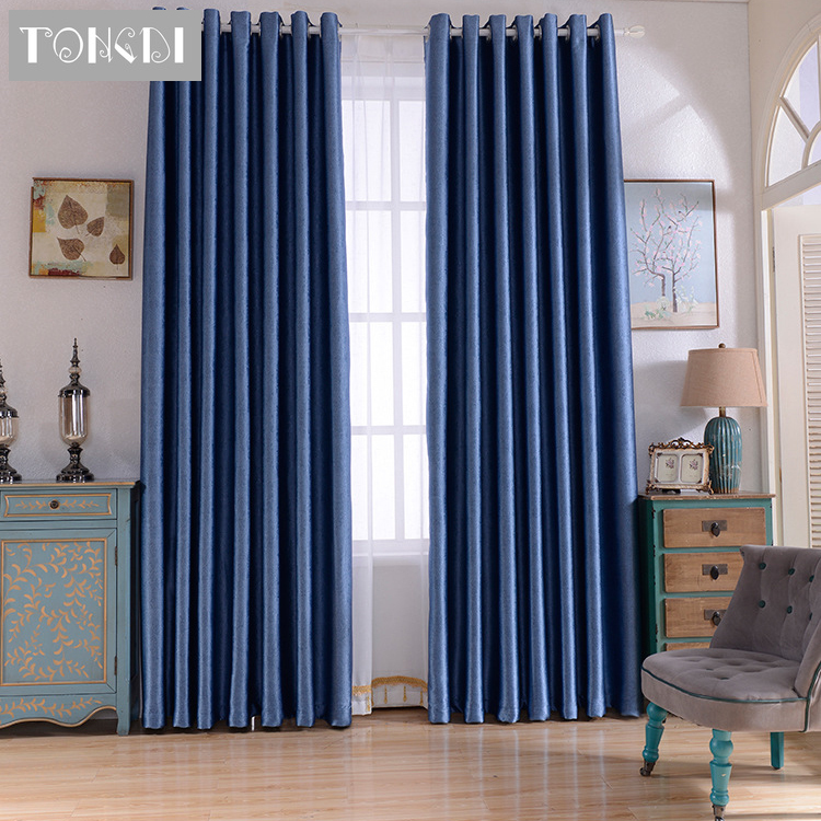 TONGDI Modern Fashion High-grade Blackout Solid Color Home Hotel Curtain For Living Room Bedroom Shading Noise Reduction Panel