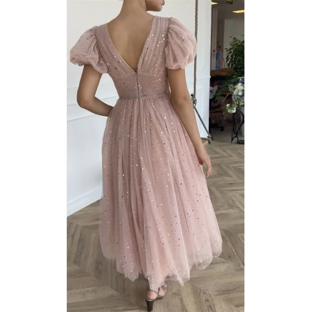 HONGFUYU Glitter Short Prom Dresses V-Neck Puff Sleeves платье Tulle Evening Dress Buttons A-Line robe de soirée Party Gowns