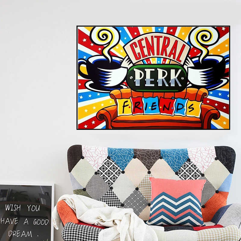 Ssckll DIY 5D Diamond Painting Kit Friends TV Show Wall Art Decoration Watercolor Central Perk Picture Friends TV Show Embroidery Mosaic 12x16inch